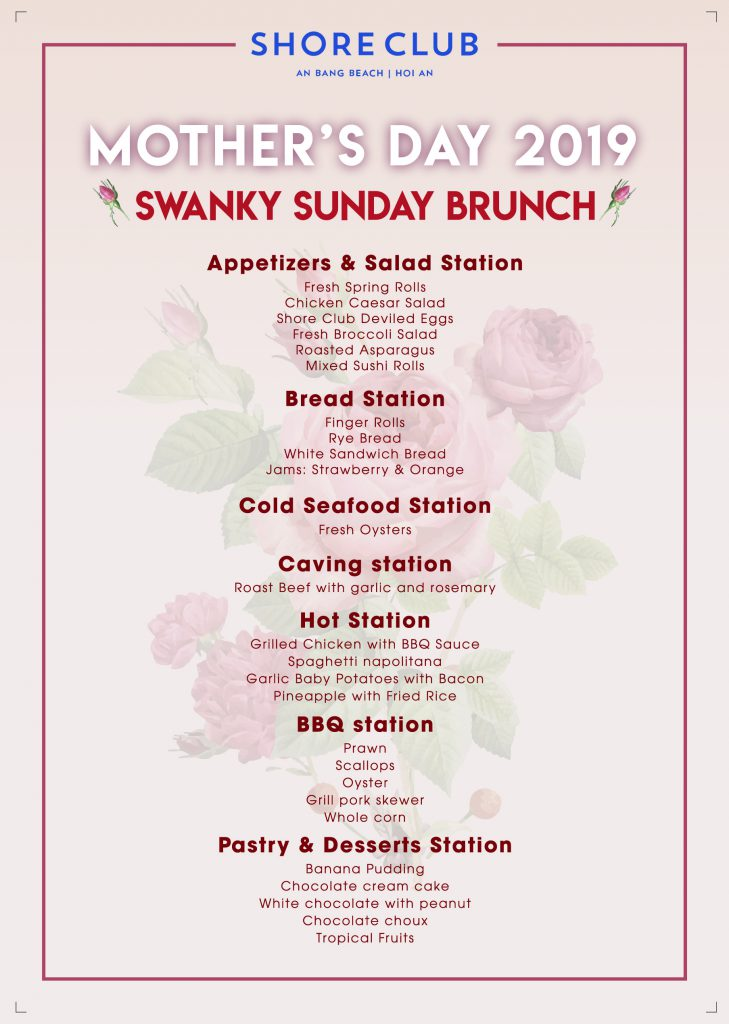 Buffet menu for Shore Club's Mother's Day 2019 celebration