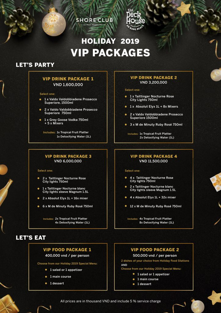 Holiday 2019 VIP Packages